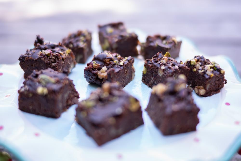 Chickpea, Almond walnut & Pistachio chocolate brownies